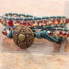 Teal Bracelet Bohemian Jewelry Leather Wrap Bracelet Beaded Bracelet Pink Wrap Bracelet Yellow Blue Leather Jewelry Boho Hippie Mothers Day by AbacusBeadCreations on Etsy https://www.etsy.com/listing/210815097/teal-bracelet-bohemian-jewelry-leather