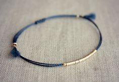 Artículos similares a New Version Lucia Bracelet / Friendship Bracelet / Navy Thread Bracelet with Gold en Etsy Diy Jewelry, Beaded Jewelry, Jewelery, Jewelry Accessories, Handmade Jewelry, Jewelry Design, Fashion Jewelry, Jewelry Making, Bracelets Bff