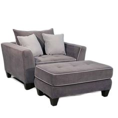 @Overstock   Grey Metro Chair/ Ottoman   Made Of 100 Percent Polyester In