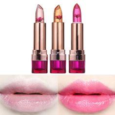 1pc Black Chrysanthemum Lipstick 3 Fruit Flavors Temperature changed Lip Balm Moisturizer Lips Makeup Brand lipstick