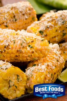 Latin-style street vendor corn on the cob with a drizzle of Best Foods Mayonnaise and sprinkling of garlic, lime and cilantro for that extra kick.