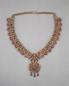 Necklace, gold, precious and semi-precious stones and pearls. Punjab or Rajasthan, India, 18th-19th century