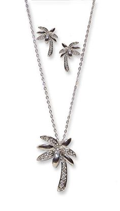 WHITE TROPICAL PALM TREE 2 PCS EARRING NECKLACE SET