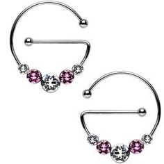 Pink and Clear Universal Nipple Ring Set Created with Swarovski Crystals