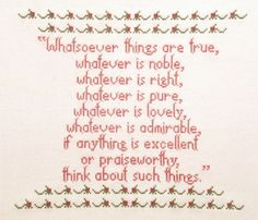 Items similar to Whatsoever Things - Cross Stitch Pattern, Sweetwater Designs, 53 on Etsy Crewel Embroidery, Cross Stitch Embroidery, Cross Stitch Patterns, Biblical Marriage, Marriage And Family, 123 Stitch, Comfort Quotes, Plastic Canvas, Quotes Inspirational