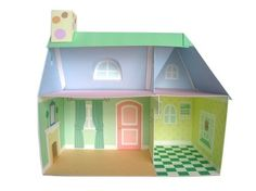Pink Cottage Dollhouse Printable Paper Craft PDF by FantasticToys
