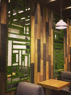 wall treatment Cafe Design, House Design, Vertical Garden Design, Moss Wall Art, Artificial Plant Wall, Landscape Walls, Wall Treatments, Restaurant Design, Interior Architecture