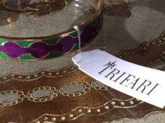 NEW Trifari Purple Green Enamel / Gold tone Bangle Bracelet Rare Jester Festive