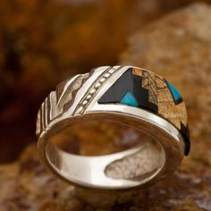Black Arrow presents this Turquoise Creek Sterling Silver Ring by David Rosales, the premier contemporary Southwest Jewelry Designer. Native American Made