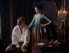 """Claire Fraser (Caitriona Balfe) and Jamie (Sam Heughan) in Episode 206 """"Best Laid Schemes"""" of Outlander Season Two on Starz"""
