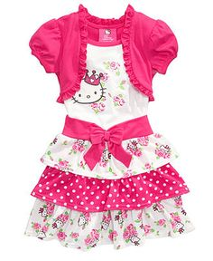 Hello Kitty Kids Dress, Little Girls Tiered Skirt Dress with Attached Shrug - Kids - Macy's