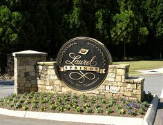Laurel Springs logo is used on an entrance monument for this luxury home community featuring a Jack Nicklaus designed golf course in North Atlanta.