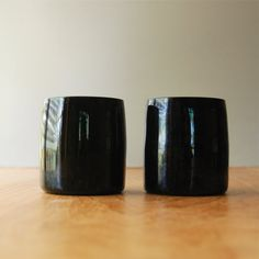 Pair of Black Glass Tumblers
