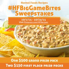 To enter the #Sweepstakes: 1. Create a board called #HFBigGameBites. 2. Repin a pin from Hormel Foods Recipes' #HFBigGameBites board or upload your own Big Game Bite to your #HFBigGameBites board. 3. Pin at least four (4) other pins to your #HFBigGameBites board for a total of five (5) pins to complete your perfect 'Big Game Bash.'