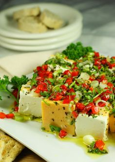 Marinated Cheese ~ a beautifully colorful & absolutely delicious party food. I made this for my daughters baby shower today. Ok-this definitely is the hands down best marinated cheese I've ever had! Finger Food Appetizers, Yummy Appetizers, Appetizers For Party, Finger Foods, Appetizer Recipes, Appetizer List, Appetizer Dishes, Cheese Recipes, Antipasto