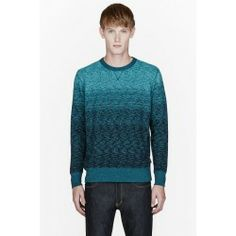 Buy Paul Smith Jeans Turquoise Ombre Slub Sweatshirt price - Long sleeve sweatshirt in mottled tones of turquoise. Ribbed crewneck collar. cuffs. and hem. Ombre and slub effects throughout. Fleecy interior. Tonal...