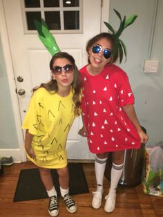 DIY strawberry and pineapple costume