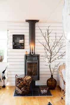 Home Shabby Home[Natale Natale industrial style Stove Fireplace, Fireplace Design, Fireplace Ideas, Wood Stove Decor, Wood Stove Surround, Wood Stove Hearth, Basement Remodel Diy, Home Decor Catalogs, Shabby Home
