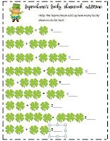 super cute shamrock addition sheet for st. patty's day
