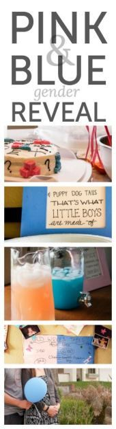 Pink and blue gender reveal - such cute ideas for a baby shower.