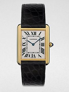 Holiday Gift Guide: Cartier Tank Solo 18K Gold & Alligator Watch for Her _ Saks.com
