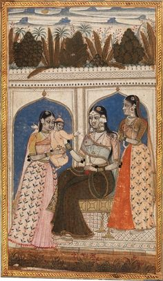 Mother and Child with Attendants. Golconda, Deccan, India, circa 1670-80. Opaque watercolor and gold on paper. 8.3 x 6 inches (21 x 15 cm). © Prahlad Bubbar