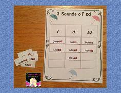3 Sounds of ed Word Sort FREEBIE