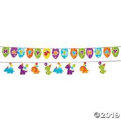 Fun Express Little Dinosaur Birthday Party Garland - 7 ft Happt Birthday, Kids Birthday Themes, Dinosaur Birthday Party, Baby First Birthday, Happy Birthday Banners, 2nd Birthday Parties, Dinosaur Party Supplies, Party Garland, Oriental Trading