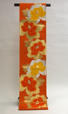 "Peony Vintage Obi Sash. Pattern with peony flowers, ""Shakuyaku"" in Japanese, that is synonymous of beautiful woman."