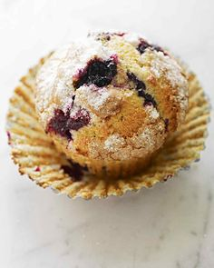 "Blueberry muffins are a breakfast staple in most homes. This blueberry muffin recipe from ""Martha's Entertaining"" features two options for topping. Make the crumb topping, or sprinkle granulated sugar and freshly grated mace over the blueberry muffin batter just before baking."