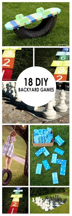 18 DIY Backyard Games ~ Bees and Roses It can be hard sometimes to get the family outside and being creative and active! Too many distractions with all those electronics. So, I have found 18 family friendly backyard games that you can make yourself! Games For Kids, Activities For Kids, Family Games, Outdoor Activities, Family Family, Family Camping, Family Room, Outdoor Projects, Diy Projects