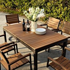 Enliven your outdoor dining with the Belham Living Carmona Faux Wood Patio Dining Set - Seats Up to 8 . This superb set offers fantastic style, comfort,. Outdoor Dining Set, Dining Chair Set, Outdoor Rooms, Outdoor Tables, Dining Sets, Outdoor Living, Outdoor Ideas, Outdoor Decor, Patio Table