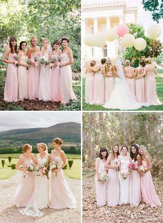 Long Blush Bridesmaids Dresses Inspiration | onefabday.com