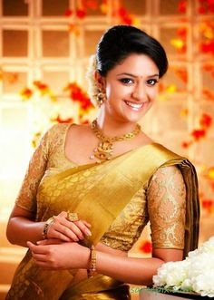 Actress Keerthi suresh in bridal silk saree photos. She is so beautiful in wedding silk sarees with matching blouses and jewellery.