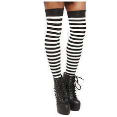 Black & White Stripe Tights | Hot Topic ($1) ❤ liked on Polyvore featuring intimates, hosiery, tights, striped tights, black white striped stockings, opaque stockings, stripe tights and striped pantyhose