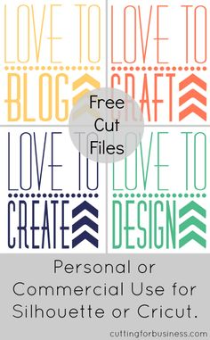 Freebie Friday: DIY Love to Blog, Craft, Create, Design Cut Files for Cricut or Silhouette - #FreebieFriday by cuttingforbusiness.com