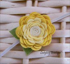 Wool Felt Flower Rosette Hair Clip or Skinny by LadybugBowtique