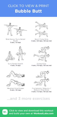 Bubble Butt Workout - Learn About These Ideas To Attain Proper Fitness Bubble Butt Workout, Printable Workouts, Gym Routine, I Work Out, At Home Workouts, Gym Workouts, Workout Exercises, Sport, How To Plan