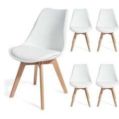 4 chaises BREKKA Blanc – design contemporain nordique scandinave super qualité - Achat / Vente chaise Blanc - Cdiscount
