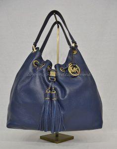f18eb44263f5 NWT MICHAEL Michael Kors Camden Large Drawstring Shoulder Tote Bag in Navy  Blue  MichaelMichaelKors