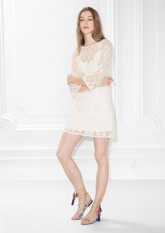 & Other Stories Floral Lace Dress in White