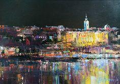 Branko Dimitrijevic, Belgrade by Night, Oil on canvas, 25x35cm, £290