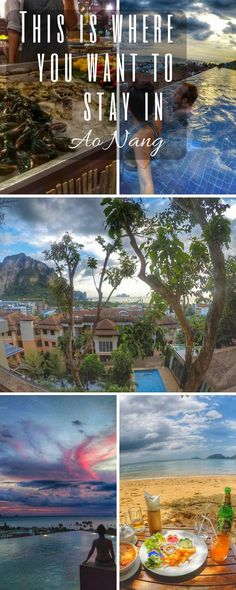 Thailand Travel - Aonang Krabi Resort. These are the accommodation you will love on your vacation in Thailand. With cliff views, infinity pool, clean rooms, amazing food and unique restaurants, the Cliff Beach Resort is close to everything and makes it easy to have fun in town or go island hopping!  Check out our full hotel review: http://togethertowherever.com/aonang-cliff-beach-resort-krabi-hotel-review/