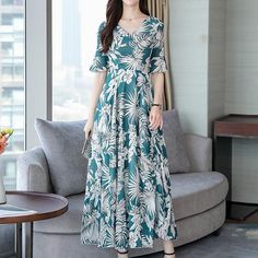 Vintage Silk Floral Print V-Neck Stitching Dress Chiffon Maxi Dress, Maxi Dress With Sleeves, Short Sleeve Dresses, Bohemia Dress, Stitching Dresses, Time 7, Two Piece Dress, Linen Dresses, Summer Dresses For Women
