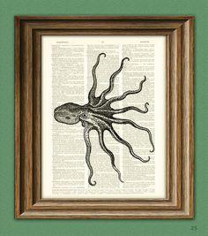 Octopus Art Print Seite Schlag verändert Kunst auf von collageOrama