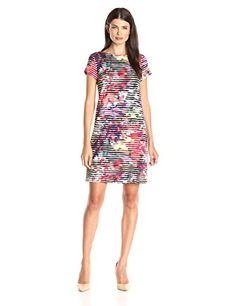 London Times Women's Linear Abstract Short Sleeve Scuba Printed Shift Dress, Coral Multi, 6