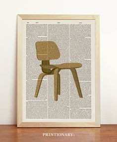 LCW Lounge Chair Wood Poster Charles Eames Print Mid Century Danish Modern Furniture Art Upcycled Decor Art Book Dictionary A4 8.3 x 11.7 in