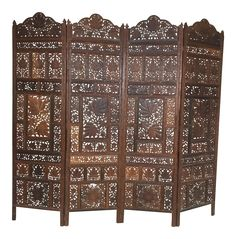 Indian Carved Teak Four Panel Screen on Chairish.com