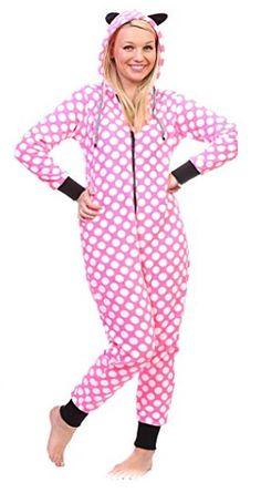Ladies Polka Dot Hoodie Onesie  https://www.australiaqld.com/product/ladies-totally-pink-heart-hoodie-onesie/ #fashion #style #dresses