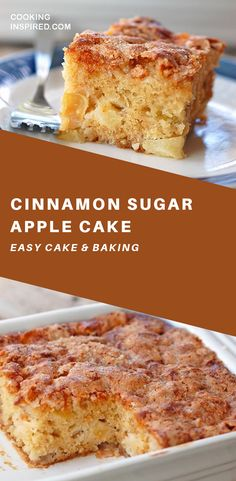 This simple cinnamon sugar apple cake is light and fluffy, loaded with fresh app. This simple cinnamon sugar apple cake is light and fluffy, loaded Healthy Cake Recipes, Apple Cake Recipes, Apple Desserts, Brownie Recipes, Just Desserts, Dessert Recipes, Baking Desserts, Cinnamon Desserts, Cake Baking